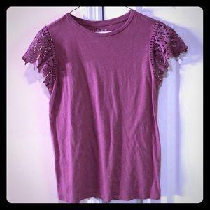 LOFT pink lace ruffle sleeve t-shirt